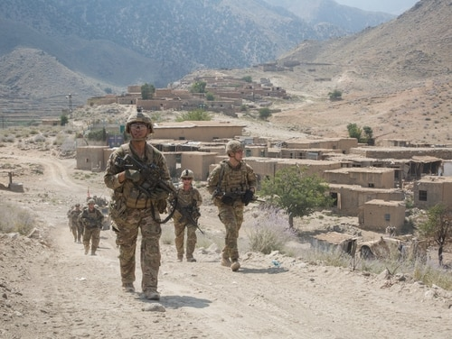 U.S. paratroopers conduct a tactical ground movement through Pekha Valley, Achin District, Nangahar Province, Afghanistan, Sept. 3, 2017. (Cpl. Matthew DeVirgilio/Army)