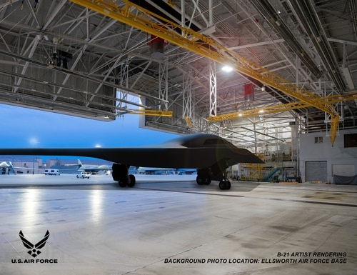 Artist rendering of a B-21 Raider concept in a hangar at Ellsworth Air Force Base, S.D., one of the future bases to host the new airframe. (Courtesy of Northrop Grumman)