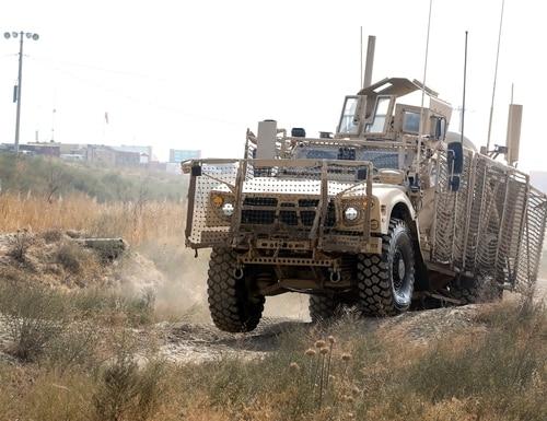 An Oshkosh Defense mine-resistant, ambush-protected vehicle drives near Bagram Airfield in Afghanistan on Nov. 8, 2017. (Spc. Elizabeth White/U.S. Army)