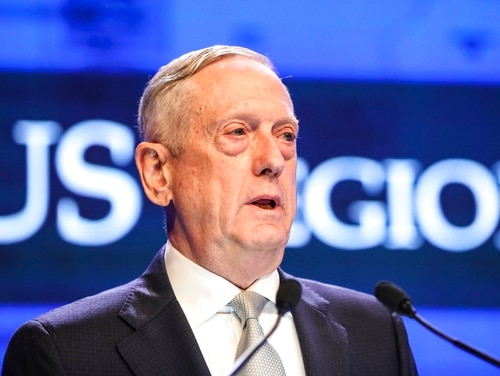 U.S. Defense Secretary Jim Mattis delivers a speech at the 17th International Institute for Strategic Studies (IISS) Shangri-la Dialogue, an annual defense and security forum in Asia, in Singapore, Saturday, June 2, 2018, in Singapore. (Yong Teck Lim/AP)