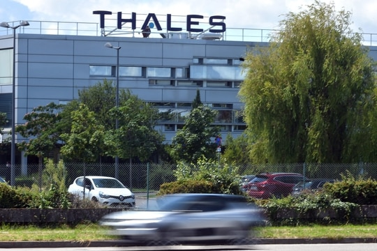 A picture taken on June 17, 2020, shows the entrance of the French multinational Thales plant, specialized in defense and electrical systems, in Toulouse, southwestern France. (Photo by Remy Galbada/AFP via Getty Images)