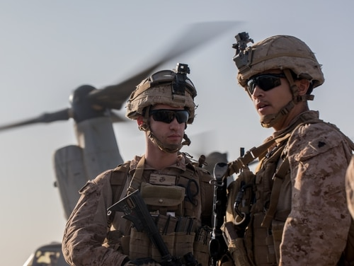 Marines with 3d Battalion, 7th Marine Regiment, attached to Special Purpose Marine Air-Ground Task Force, Crisis Response-Central Command, prepare to board an MV-22 Osprey on to a site near At-Tanf Garrison, Syria, Sept. 7. (Cpl. Carlos Lopez/ Marine Corps)
