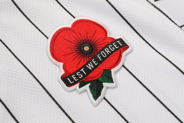 The traditional remembrance poppy is a new feature added to this year's commemorative MLB uniforms. (MLB)