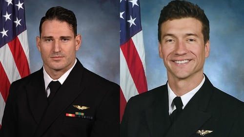 Navy officials have identified the two aviators killed in March 14's Super Hornet crash as Lt. Caleb Nathaniel King, left, and Lt. Cmdr. James Brice Johnson. The Navy is investigating the crash. (Navy)