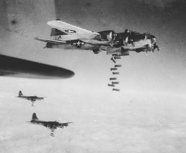 B-17 Flying Fortresses bomb German communication lines at Chemnitz, near Dresden, on Feb. 6, 1945. (AP)