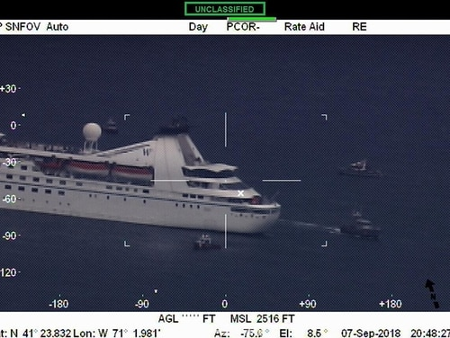 Close up footage of the cruise ship Star Pride in Buzzards Bay, Mass., Friday, Sept. 7, 2018, from Air Station Cape Cod's HC-144 Ocean Sentry. Local Coast Guard units and the Buzzards Bay Task Force responded to the ship after it became disabled. (U.S. Coast Guard)