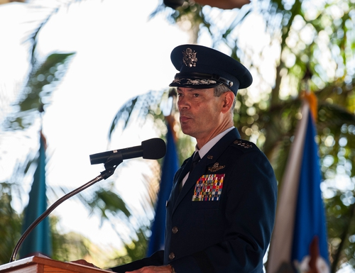 Gen. Kenneth Wilsbach, the new Pacific Air Forces commander, speaks during his change of command ceremony at Joint Base Pearl Harbor-Hickam in Hawaii. (Staff Sgt. Hailey Haux/Air Force)