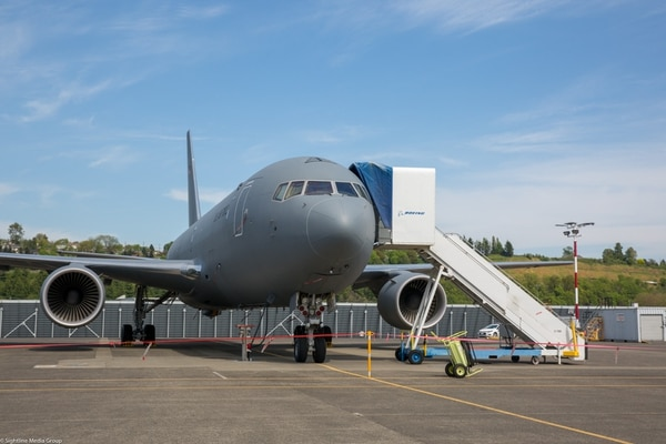 A KC-46 Pegasus test aircraft sits on the ramp at Boeing Field in Seattle, Wash. (Jeff Martin/Staff)