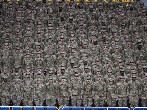 SAN ANTONIO, TX - JANUARY 07: Soldiers recite the Army Creed before the US Army All-American Bowl on January 7, 2017, at the Alamodome in San Antonio, TX. (Photo by Daniel Dunn/Icon Sportswire) (Icon Sportswire via AP Images)