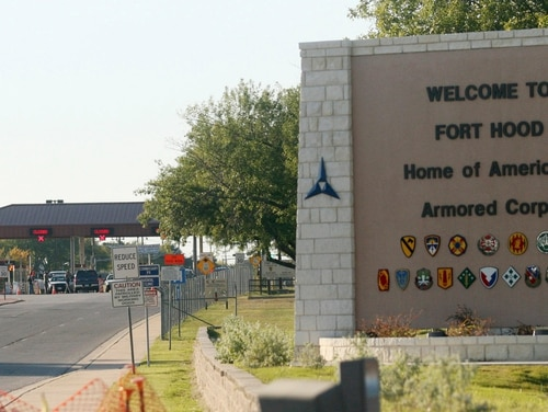 This Nov. 5, 2009, file photo shows the entrance to Fort Hood in Texas. The installation is one of 10 Army locations whose names honor Confederate leaders. (Jack Plunkett/AP)