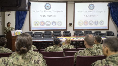 The heads of the Navy and Marine Corps told lawmakers Thursday they had received no reports of transgender troops affecting unit cohesion. Sailors are shown here in Bahrain in 2017 during a Lesbian, Gay, Bisexual and Transgender Pride Month observance. (MC2 Christina Brewer/Navy)