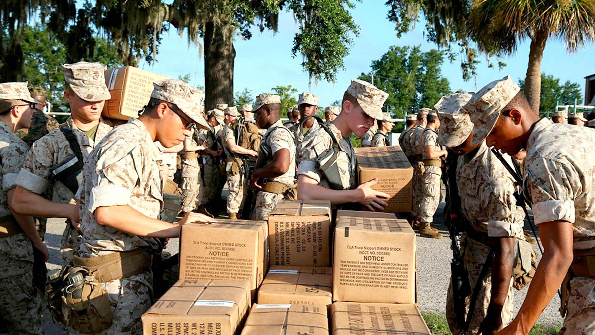 Recruits at Marine Corps Recruit Depot Parris Island, S.C., prepare to evacuate to Marine Corps Logistic Base Albany on Sept. 11, 2018, following an evacuation order ahead of Hurricane Florence. (Lance Cpl. Yamil Casarreal/Marine Corps)
