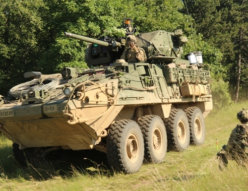 Engineers, assigned to Alpha Troop, Regimental Engineer Squadron, 2nd Cavalry Regiment, take part in a force-on-force training exercise as a part of Saber Guardian, June 8-9, 2019 in Ujdorogd, Hungary. The 2-CR's Styrkers new electronic warfare equipment is designed to protect them from jamming. (Spc. Joseph E. D. Knoch/Army)