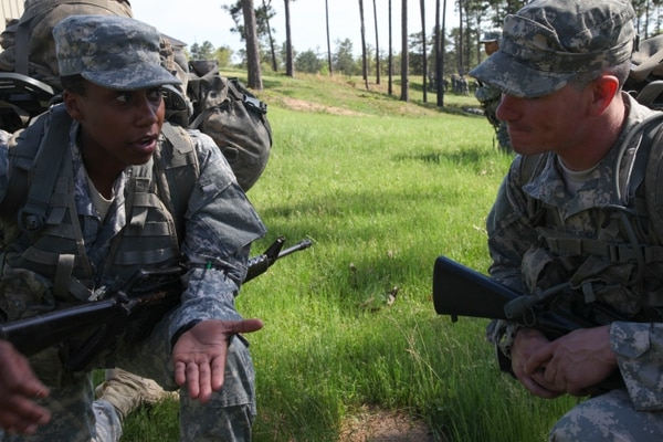 U.S. Army Soldiers participate in a class on squad attacks during the Ranger Training Assessment Course (RTAC) at Camp Butler on Fort Benning, GA., April 4, 2015. The Soldiers participate in RTAC for preparation and selection into Ranger School. (U.S. Army Photo by Pfc. Antonio Lewis/ Not Released)