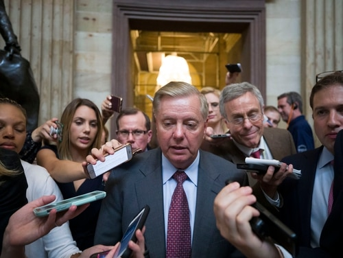 Sen. Lindsey Graham, R-S.C., speaking to reporters here, is an ally of U.S. President Donald Trump, who has sought a withdrawal from Afghanistan. (Alex Brandon/AP)