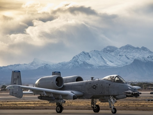 An A-10C Thunderbolt II from the 74th Fighter Squadron taxis down the runway during Green Flag-West 17-03 Jan. 23, 2017, at Nellis Air Force Base, Nev. Two A-10s crashed during a training mission Sept. 6, 2017, officials said. (Staff Sgt. Ryan Callaghan/Air Force)