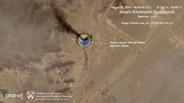 This satellite image from Planet Labs Inc., that has been annotated by experts at the James Martin Center for Nonproliferation Studies at Middlebury Institute of International Studies, shows a fire at a rocket launch pad at the Imam Khomeini Space Center in Iran's Semnan province, Thursday Aug. 29, 2019. The satellite image released Thursday shows the smoldering remains of a rocket at a Iran space center that was to conduct a U.S.-criticized satellite launch. (Planet Labs Inc, Middlebury Institute of International Studies via AP)