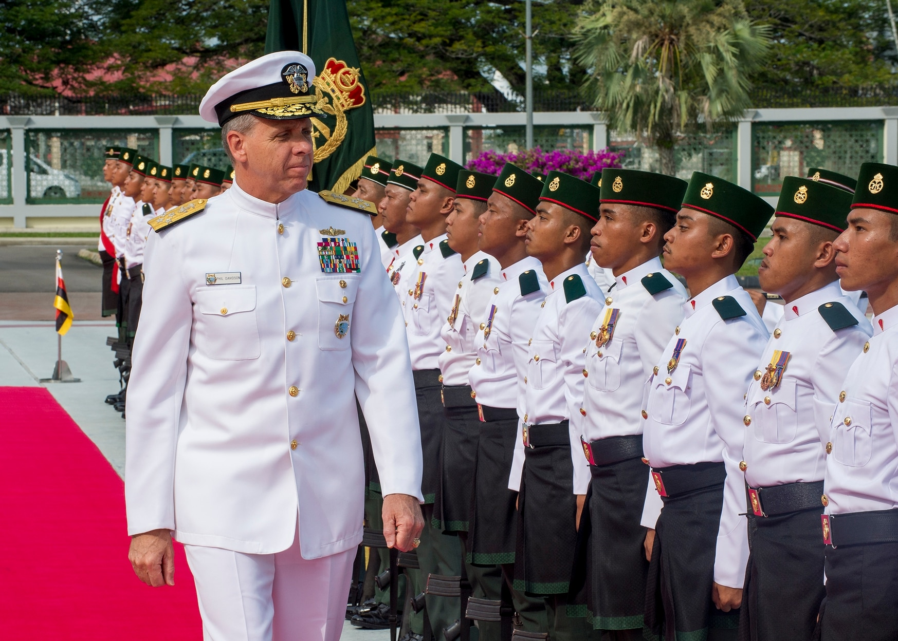 Commander of U.S. Indo-Pacific Command Adm. Phil Davidson participates in an honors ceremony at the Brunei Ministry of Defence. (MC1 Robin W. Peak/U.S. Navy)