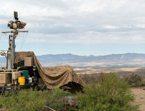 In this April 4, 2019, photo, a mobile surveillance camera system manned by soldiers monitors a sector near the Presidio Border Patrol Station at Presidio, Texas. (Sgt. Brandon Banzhaf/U.S. Army via AP)
