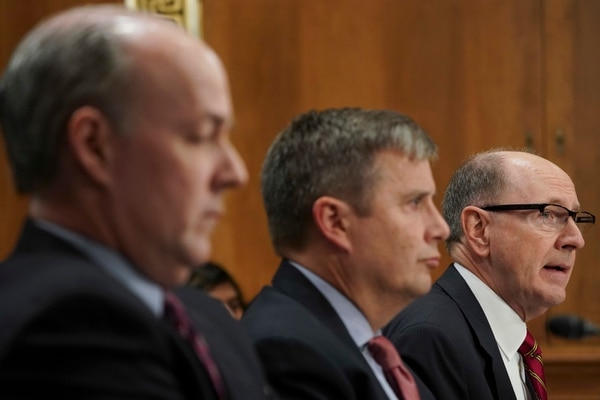 Retired Air Force Gen. C. Robert Kehler, far right, former commander of U.S. Strategic Command, testifies before the Senate Foreign Relations Committee hearing on North Korea on Capitol Hill in Washington, Tuesday, Nov. 14, 2017. Also testifying are Dr. Peter D. Feaver, center, professor of political science and public policy at Duke University,and Brian McKeon, left, former acting under secretary for policy at the Defense Department. (Pablo Martinez Monsivais/AP)
