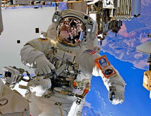 NASA Astronaut and U.S. Army Col. Andrew Morgan poses for a picture during a space walk at the International Space Station. (Luca Parmitano/European Space Agency via DoD)