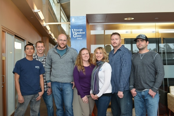 Veteran Students that frequently utilize the services of the FCB VSC, From left to right: Thomas Begay ARMY, Jesse Redmond USMC, Andrew Brooks USMC, Michelle Hagan USAF, Laurie Jordon Coordinator for FCB VSC - USAF, Justin Goff USAF, Cody Dulaney USMC, Justin Goff USAF,