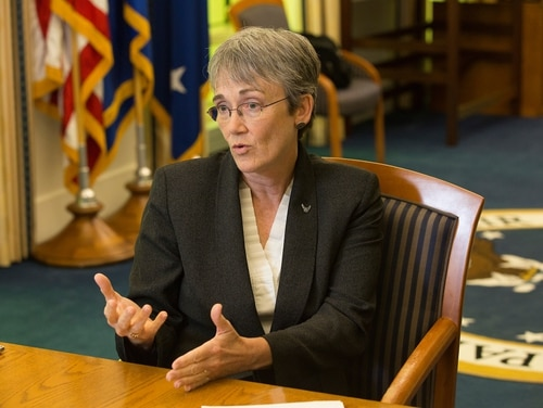 Heather Wilson, Secretary of the U.S. Air Force, during an editorial board in her office at the Pentagon on August 31, 2017. (Alan Lessig/Staff)