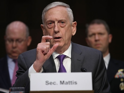 U.S. Defense Secretary Jim Mattis testifies before the Senate Armed Services Committee on April 26, 2018, in Washington. The committee heard testimony on the Defense Authorization Request for FY19 and the Future Years Defense Program. (Win McNamee/Getty Images)
