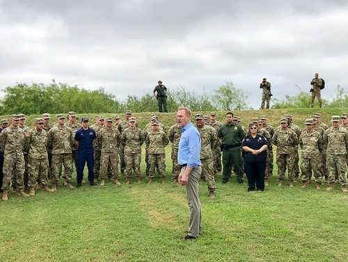 Acting Defense Secretary Patrick Shanahan speaks with troops near McAllen, Texas, on May 11, 2019, about the military's role in support of the Department of Homeland Security's effort to secure the Southwest border. (Robert Burns/AP)