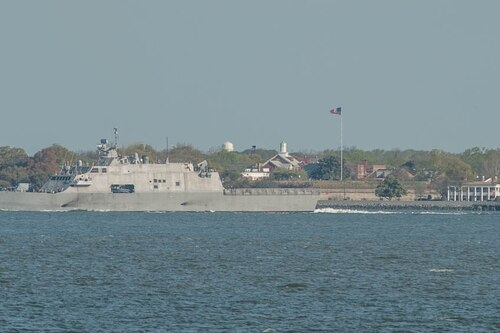 The littoral combat ship Little Rock passes old Fort Monroe in Hampton, Virginia, as it heads into Norfolk for underway replenishment training. (Mark D. Faram/staff)