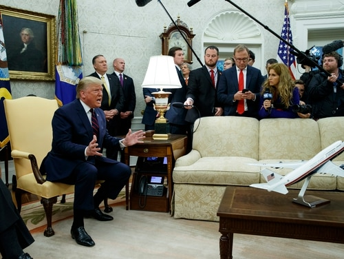 President Donald Trump speaks during a meeting with Italian President Sergio Mattarella in the Oval Office of the White House on Oct. 16, 2019. (Evan Vucci/AP)