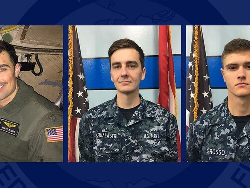 A C-2A Greyhound aircraft crash on Nov. 22, 2017, in the West Pacific took the lives of, from left, Lt. Steven Combs, Aviation Boatswain's Mate (Equipment) Airman Matthew Chialastri and Aviation Ordnanceman Airman Apprentice Bryan Grosso. (U.S. Navy photo)