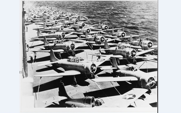 The flight deck scene of the aircraft carrier Saratoga in late 1941. Those are Grumman F4F-3