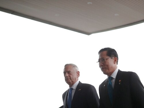 U.S. Defense Secretary Jim Mattis, left, walks with his South Korean counterpart Song Young-moo as he inspects honor guards upon his arrival at the Defence Ministry in Seoul, South Korea, June 28. (Kim Hong-Ji/Pool Photo via AP)