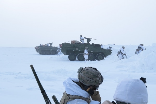 Soldiers assigned to 3rd Battalion, 21st Infantry Regiment conduct battle drills in a Stryker armored vehicle during an arctic deployment as part of the U.S. Army Alaska led exercise Arctic Edge 18 at Deadhorse, Alaska. As Russia makes moves in the Arctic some say the Army needs to put more resources into the cold weather fight. (Army)
