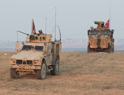 The U.S. and Turkey conduct a convoy during a joint combined patrol in Manbij, Syria, Nov. 8, 2018. (Spc. Zoe Garbarino/Army)