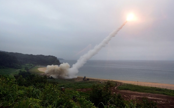 The U.S. Army Tactical Missile System fires a missile into the East Sea during a South Korea-U.S. joint missile drill aimed to counter North Korea's ICBM test on July 29. (South Korean Defense Ministry/Getty Images)