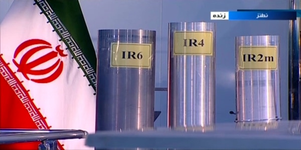 In this June 6, 2018, frame grab from the Islamic Republic Iran Broadcasting, IRIB, state-run TV, three versions of domestically-built centrifuges are shown in a live TV program from Natanz, an Iranian uranium enrichment plant, in Iran. (IRIB via AP, File)