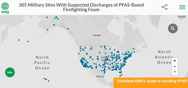 An interactive Environmental Working Group map lays out PFAS contamination across 305 military sites. (EWG)