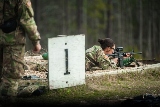 U.S. Army Infantry soldiers-in-training assigned to Alpha Company, 1st Battalion, 19th Infantry Regiment, 198th Infantry Brigade, at Fort Benning, Georgia, conduct basic rifle marksmanship training (BRM) March 23, 2017. (Patrick A. Albright/Army)
