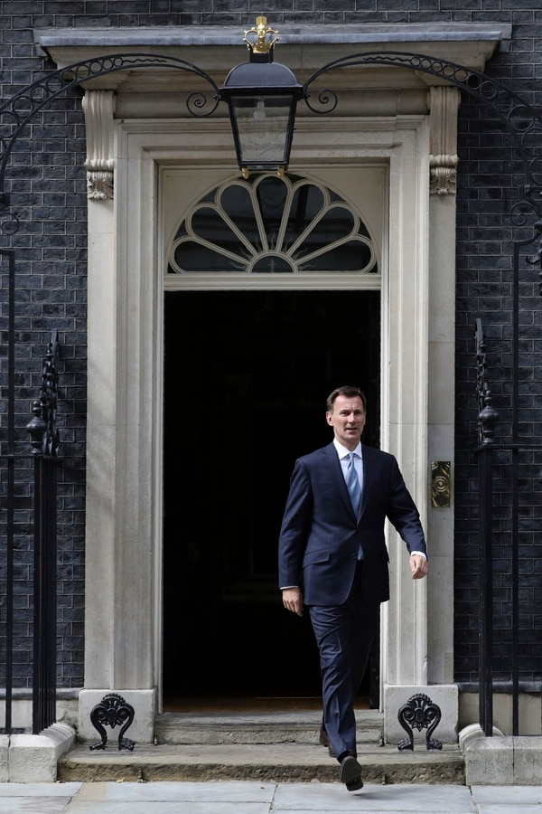 Britain's Foreign Secretary Jeremy Hunt leaves 10 Downing Street, following a Saturday meeting held over British oil tanker Stena Impero which was captured by Iran. (Aaron Chown/PA via AP)