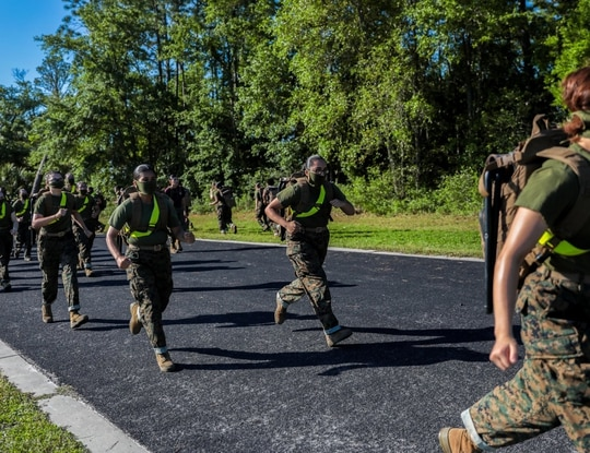 Recruits train aboard Marine Corps Recruit Depot Parris Island, South Carolina. (Marine Corps)