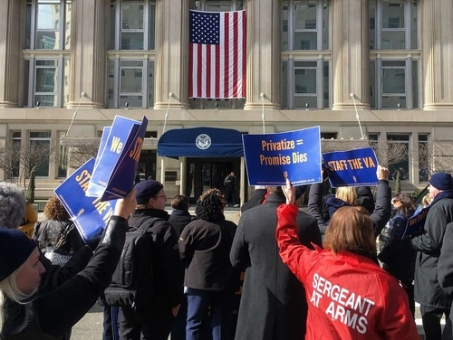The Department of Veterans Affairs moved to restrict employee union bargain rights by rescinding an Obama-era memorandum of understanding. (Leo Shane III/Staff)