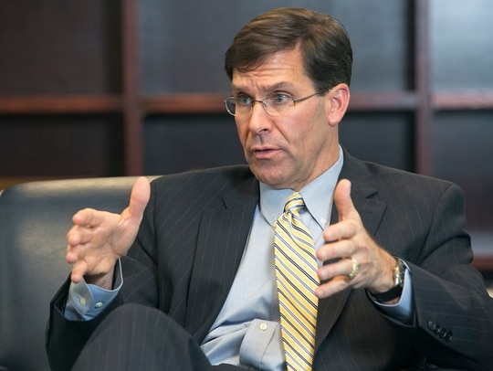 Mark T. Esper, Secretary of the Army, photographed in his Pentagon office on Dec. 12. (Alan Lessig/Staff)
