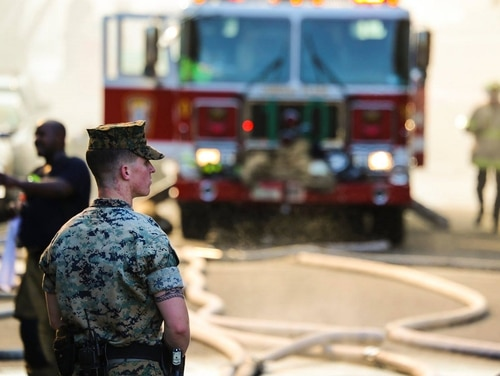 Some of the first responders were neighbors, including Marines from the Barracks Washington at 8th & I, located just down the street. (Cpl. Damon A. Mclean/Marine Corps)