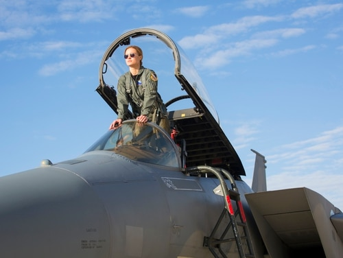 Carol Danvers (Brie Larson) gets the feel of her F-15 at Edwards Air Force Base, Calif. (Chuck Zlotnick/Marvel Studios)
