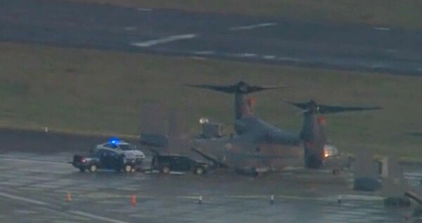 Aerial footage aired by the BBC showed a vehicle by an Osprey on the flightline at RAF Mildenhall in England, surrounded by police. The Suffolk Police confirmed the vehicle that breached the gate at Mildenhall reached the base's airfield. (Screenshot via BBC)