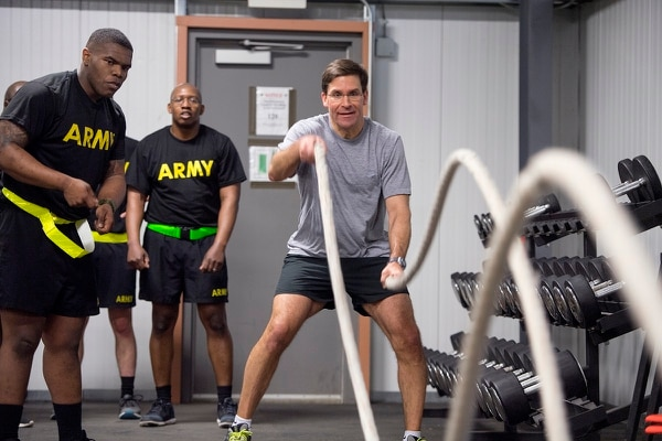 Secretary of the Army Mark Esper conducts PT with soldiers during a recent visit to Fort Drum, New York. (Daniel Torok/Army)