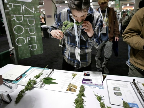 Connor Valliere, of Bedford, Mass., smells a marijuana sample at the New England Cannabis Convention on March 25 in Boston. This week, former House Speaker John Boehner announced he was changing his opposition to medical marijuana, in part because of the potential benefit to suffering veterans. (Steven Senne/AP)