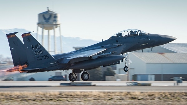 An F-15E Strike Eagle with the 366th Fighter Wing takes off at Mountain Home Air Force Base, Idaho. It was not clear if the noise from a wing training exercise had anything to do with a false report of gunshots at the base, which led to a brief lockdown Wednesday morning. (Airman Chester Mientkiewicz/Air Force)